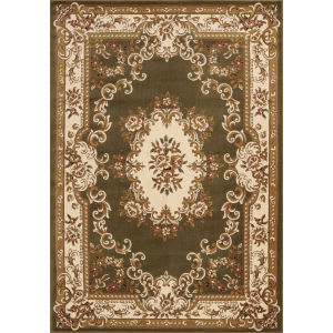 Corinthian Aubusson Green and Ivory Rectangular: 9 Ft. 10 In. x 13 Ft. 2 In. Area Rug