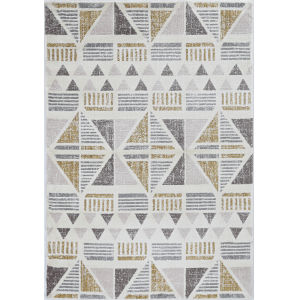 Elements Ivory and Gold Rectangular: 5 Ft. 3 In. x 7 Ft. 7 In. Rug