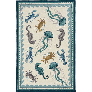 Harbor Beach Life Ivory and Teal Round Indoor/Outdoor: 7 Ft. 6 In. Area Rug
