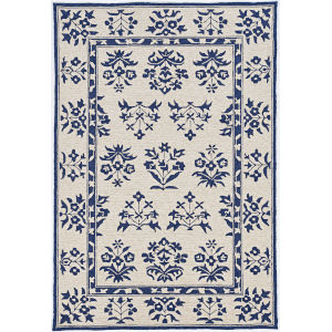 Harbor Haven Sand and Blue Rectangular: 7 Ft. 6 In. x 9 Ft. 6 In. Area Rug