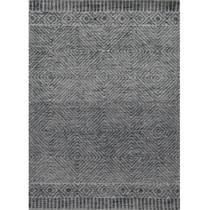 Hudson Gray and Black Rectangular: 6 Ft. 6 In. x 9 Ft. 6 In. Rug