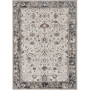 Inspire Ivory Grey Empera Rectangle: 6 Ft. 7 In. x 9 Ft. 6 In. Area Rug