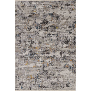 Karina Grey Landscape Round: 8 Ft. Area Rug