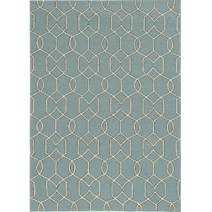 Libby Langdon Hamptons Groovy Gate Spa Round: 7 Ft. Indoor/Outdoor Area Rug