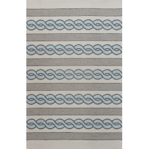 Libby Langdon Hamptons Cable Knit Ivory and Spa Rectangular: 6 Ft. 6 In. x 9 Ft. 6 In. Indoor/Outdoor Area Rug