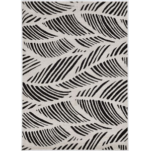 Lucia Folia Black and White Rectangular: 6 Ft. 7 In. x 9 Ft. 6 In.  Indoor/Outdoor Rug