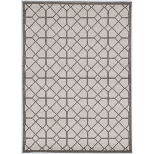 Lucia Scope Ivory and Gray Rectangular: 6 Ft. 7 In. x 9 Ft. 6 In.  Indoor/Outdoor Rug