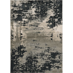 Luna Eclipse Silver Charcoal Rectangular: 6 Ft. 7 In. x 9 Ft. 6 In. Area Rug