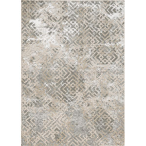 Luna Dimensions Sand Silver Rectangular: 6 Ft. 7 In. x 9 Ft. 6 In. Area Rug