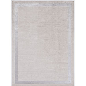 Luna Border Ivory and Silver Rectangular: 5 Ft. 3 In. x 7 Ft. 7 In. Area Rug