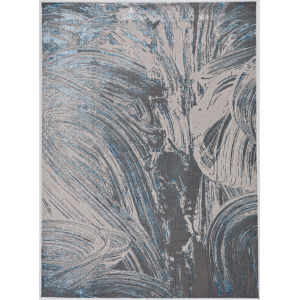 Luna Stroked Silver and Blue Rectangular: 6 Ft. 7 In. x 9 Ft. 6 In. Area Rug