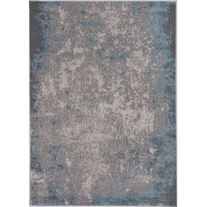 Luna Silver and Blue Rectangular: 5 Ft. 3 In. x 7 Ft. 7 In. Area Rug