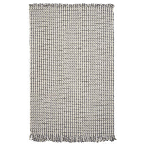 Maui Houndstooth Ivory and Gray Rectangular: 5 Ft. x 8 Ft. Area Rug