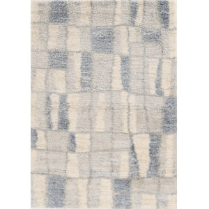 Merino Cityscape Ivory and Blue Rectangular: 7 Ft. 10 In. x 9 Ft. 10 In. Area Rug