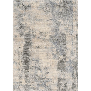 Merino Palette Ivory and Blue Rectangular: 7 Ft. 10 In. x 9 Ft. 10 In. Area Rug