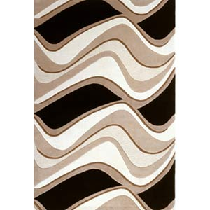 Eternity Black/Beige Waves Rectangle: 3 Ft. 3 In. x 5 Ft. 3 In. Rug