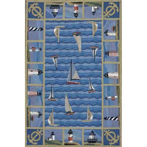 Colonial Blue Lighthouses Rectangle: 5 Ft. 3 In. x 8 Ft. 3 In. Rug