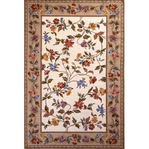 Colonial Ivory Floral Vine Rectangle: 5 Ft. 3 In. x 8 Ft. 3 In. Rug