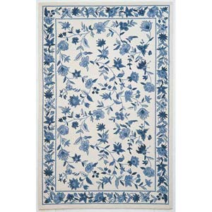 Colonial Ivory/Blue Floral Rectangle: 5 Ft. 3 In. x 8 Ft. 3 In. Rug