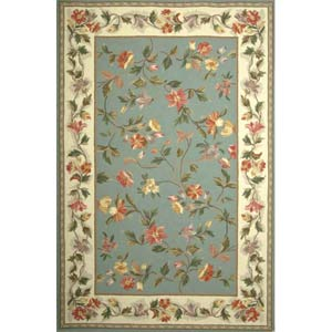 Colonial Slate Blue/Ivory Floral Rectangle: 5 Ft. 3 In. x 8 Ft. 3 In. Rug