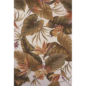 Colonial Ivory Tropical Paradise Rectangle: 5 Ft. 3 In. x 8 Ft. 3 In. Rug