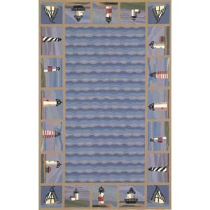 Colonial Blue Lighthouse Waves Rectangle: 5 Ft. 3 In. x 8 Ft. 3 In. Rug