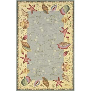Colonial Blue/Ivory Ocean Surprise Rectangle: 5 Ft. 3 In. x 8 Ft. 3 In. Rug