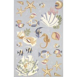Colonial Light Blue Ocean Life Rectangle: 5 Ft. 3 In. x 8 Ft. 3 In. Rug