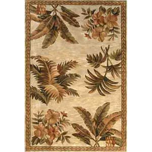 Sparta Ivory Tropical Oasis Rectangle: 5 Ft. 3 In. x 8 Ft. 3 In. Rug