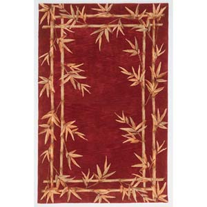 Sparta Red Bamboo Double Border Rectangle: 5 Ft. 3 In. x 8 Ft. 3 In. Rug