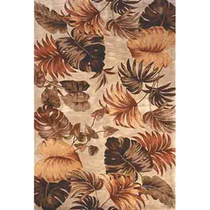 Sparta Beige Palm Leaves Rectangle: 5 Ft. 3 In. x 8 Ft. 3 In. Rug