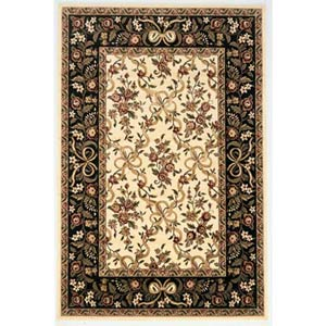 Cambridge Ivory/Black Floral Ribbons Rectangle: 5 Ft. 3 In. x 7 Ft. 7 In. Rug