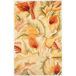 Catalina Ivory Calla Lillies Rectangle: 5 Ft. x 8 Ft. Rug