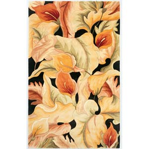 Catalina Black Calla Lillies Rectangle: 5 Ft. x 8 Ft. Rug