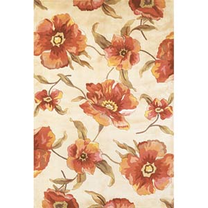 Catalina Ivory Poppies Rectangle: 5 Ft. x 8 Ft. Rug