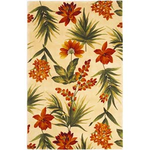 Catalina Ivory Tropical Flora Rectangle: 5 Ft. x 8 Ft. Rug