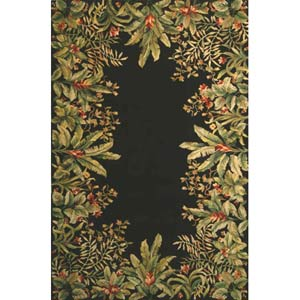 Emerald Black Tropical Border  Rectangle: 5 Ft. 3 In. x 8 Ft. 3 In. Rug