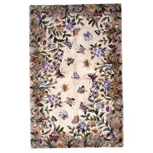 Emerald Antique Beige Butterfly Garden Rectangle: 3 Ft. 6 In. x 5 Ft. 6 In. Rug