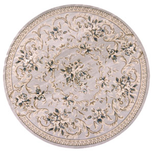 Avalon Light Grey Aubusson Round: 7 Ft. 10 In. Rug