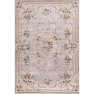 Avalon Light Grey Aubusson Rectangular: 7 Ft. 10 In. x 9 Ft. 10 In. Rug