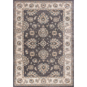 Avalon Grey and Ivory Kashan Rectangular: 3 Ft. 3 In. x 5 Ft. 3 In. Rug