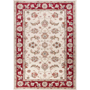 Avalon Ivory and Red Mahal Rectangular: 3 Ft. 3 In. x 5 Ft. 3 In. Rug