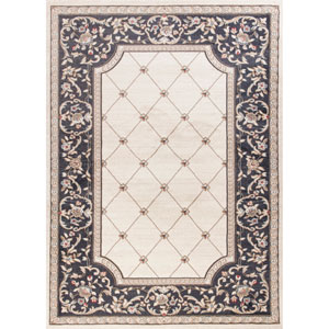 Avalon Ivory and Grey Courtyard Rectangular: 3 Ft. 3 In. x 5 Ft. 3 In. Rug