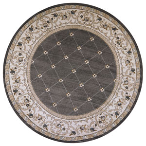 Avalon Grey and Ivory Courtyard Round: 7 Ft. 10 In. Rug