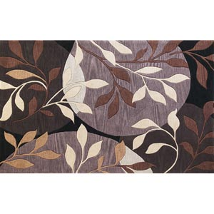 Bali Plum/Black Mosaic Rectangular: 5 ft. x 8 ft. Rug