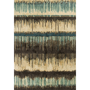 Barcelona Sand and Teal Palma Rectangular: 2 Ft. 7 In. x 4 Ft. 11 In. Rug