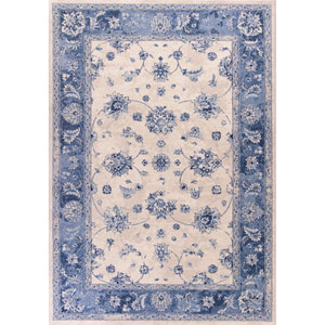 Bob Mackie Home Vintage Gray and Sky Blue Rectangular: 3 Ft. 3-Inch x 4 Ft. 11-Inch Rug