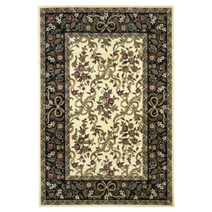 Cambridge Ivory/Black Floral Ribbons Rectangular: 2 Ft. 3 In. x 3 Ft. 3 In.  Rug