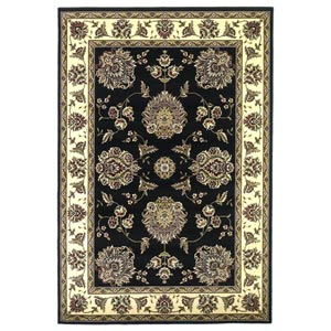 Cambridge Black/Ivory Floral Mahal Rectangular: 9 ft. 10 in. x 13 ft. 2 in. Rug