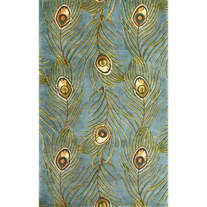 Catalina Blue Peacock Feathers Rectangular: 5 ft. x 8 ft. Rug